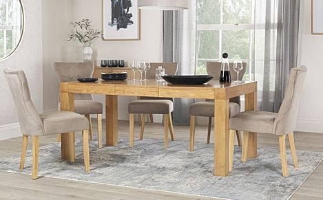 Cambridge Oak 125-170cm Extending Dining Table with 4 Bewley Mink Velvet Chairs