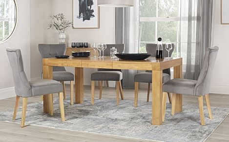 Cambridge Oak 125-170cm Extending Dining Table with 4 Bewley Grey Velvet Chairs