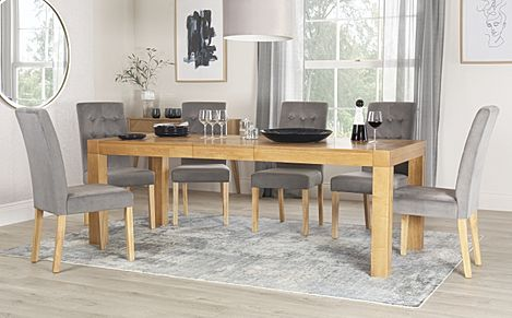 Cambridge 175-220cm Oak Extending Dining Table with 6 Regent Grey Velvet Chairs