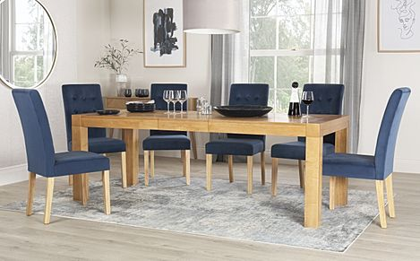 Cambridge 175-220cm Oak Extending Dining Table with 6 Regent Blue Velvet Chairs