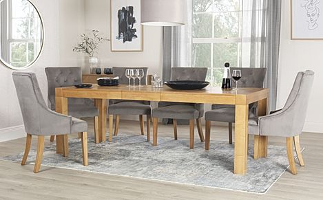 Cambridge 175-220cm Oak Extending Dining Table with 6 Duke Grey Velvet Chairs
