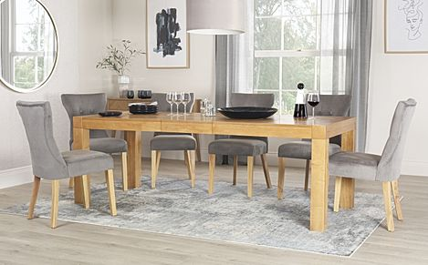 Cambridge 175-220cm Oak Extending Dining Table with 8 Bewley Grey Velvet Chairs