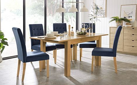 Hamilton 120-170cm Oak Extending Dining Table with 4 Regent Blue Velvet Chairs