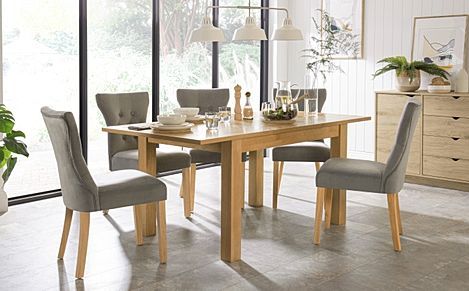 Hamilton 120-170cm Oak Extending Dining Table with 4 Bewley Grey Velvet Chairs