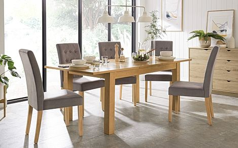 Hamilton 150-200cm Oak Extending Dining Table with 4 Regent Grey Velvet Chairs