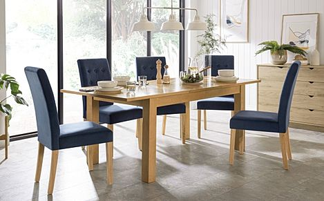 Hamilton 150-200cm Oak Extending Dining Table with 4 Regent Blue Velvet Chairs