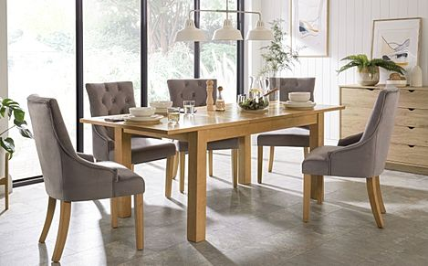 Hamilton 150-200cm Oak Extending Dining Table with 6 Duke Grey Velvet Chairs