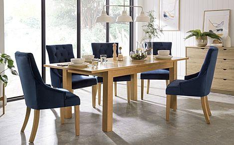 Hamilton Oak 150-200cm Extending Dining Table with 6 Duke Blue Velvet Chairs