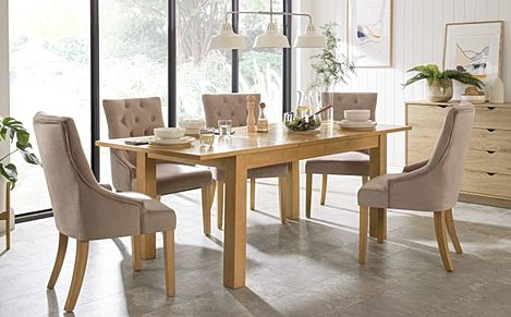 Hamilton 150-200cm Oak Extending Dining Table with 4 Duke Mink Velvet Chairs