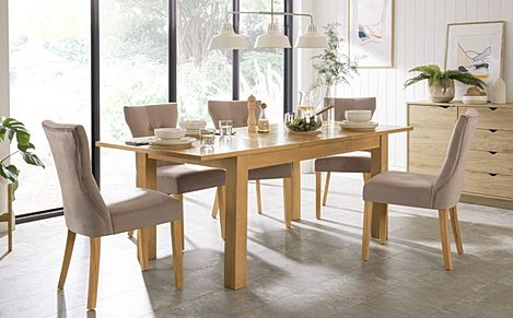 Hamilton 150-200cm Oak Extending Dining Table with 4 Bewley Mink Velvet Chairs