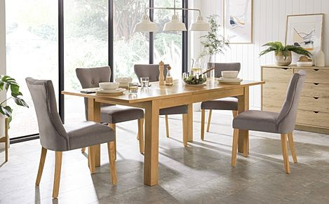 Hamilton 150-200cm Oak Extending Dining Table with 4 Bewley Grey Velvet Chairs