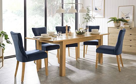 Hamilton 150-200cm Oak Extending Dining Table with 6 Bewley Blue Velvet Chairs