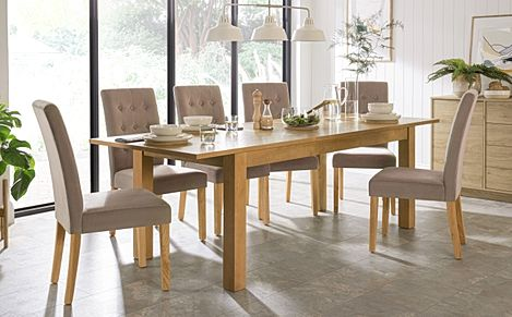 Hamilton 180-230cm Oak Extending Dining Table with 6 Regent Mink Velvet Chairs