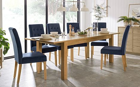 Hamilton 180-230cm Oak Extending Dining Table with 6 Regent Blue Velvet Chairs