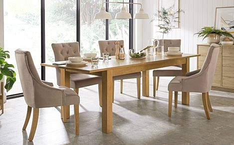 Hamilton 180-230cm Oak Extending Dining Table with 6 Duke Mink Velvet Chairs