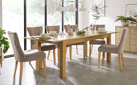Hamilton 180-230cm Oak Extending Dining Table with 6 Bewley Mink Velvet Chairs