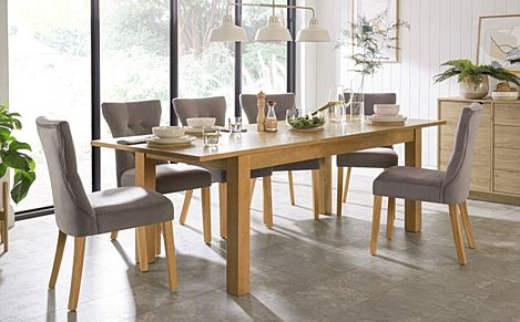 Hamilton 180-230cm Oak Extending Dining Table with 6 Bewley Grey Velvet Chairs