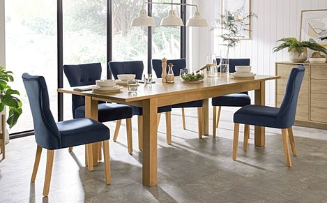 Hamilton 180-230cm Oak Extending Dining Table with 6 Bewley Blue Velvet Chairs