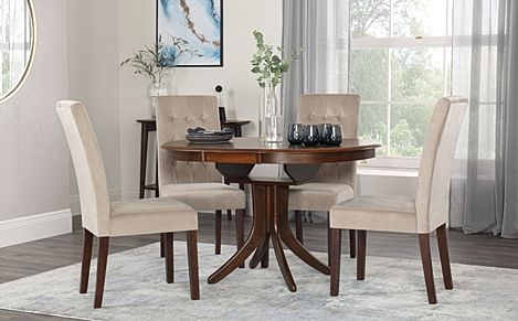 Hudson Round Dark Wood Extending Dining Table with 4 Regent Mink Velvet Chairs