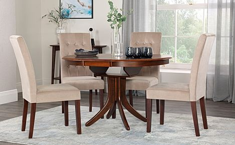 Hudson Round Dark Wood Extending Dining Table with 6 Regent Mink Velvet Chairs