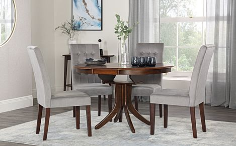Hudson Round Walnut Extending Dining Table with 4 Regent Grey Velvet Chairs