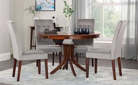 Hudson Round Walnut Extending Dining Table with 6 Regent Grey Velvet Chairs