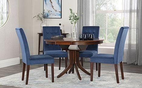 Hudson Round Walnut Extending Dining Table with 4 Regent Blue Velvet Chairs