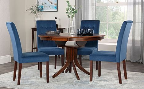 Hudson Round Walnut Extending Dining Table with 6 Regent Blue Velvet Chairs