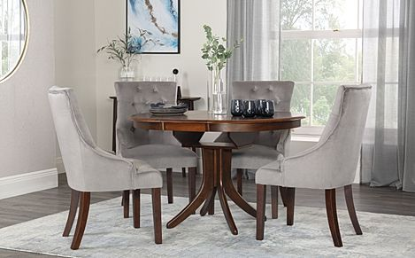 Hudson Round Walnut Extending Dining Table with 4 Duke Grey Velvet Chairs