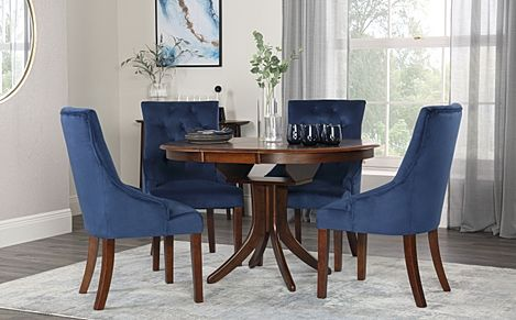 Hudson Round Walnut Extending Dining Table with 4 Duke Blue Velvet Chairs