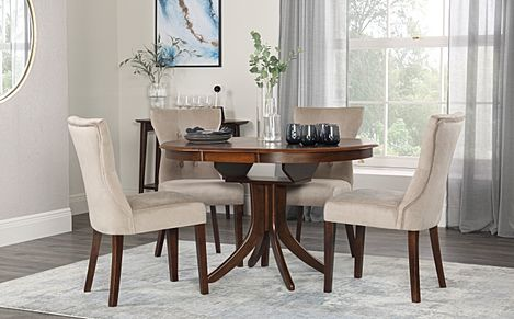 Hudson Round Walnut Extending Dining Table with 4 Bewley Mink Velvet Chairs