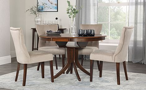 Hudson Round Dark Wood Extending Dining Table with 6 Bewley Mink Velvet Chairs