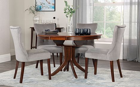 Hudson Round Dark Wood Extending Dining Table with 6 Bewley Grey Velvet Chairs