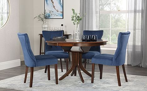 Hudson Round Walnut Extending Dining Table with 4 Bewley Blue Velvet Chairs