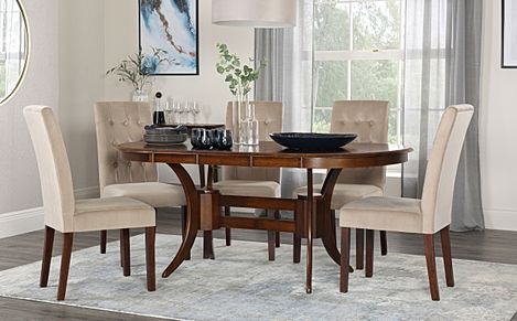 Townhouse Oval Walnut Extending Dining Table with 6 Regent Mink Velvet Chairs