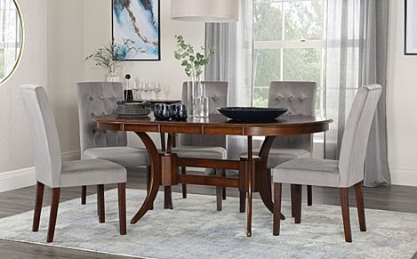 Townhouse Oval Walnut Extending Dining Table with 4 Regent Grey Velvet Chairs