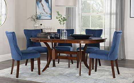 Townhouse Oval Dark Wood Extending Dining Table with 4 Bewley Blue Velvet Chairs