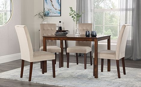 Milton Dark Wood Dining Table with 4 Regent Mink Velvet Chairs