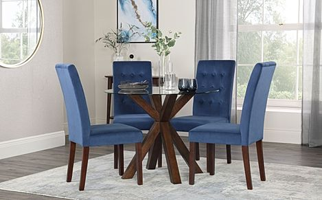 Hatton Round Walnut and Glass Dining Table with 4 Regent Blue Velvet Chairs