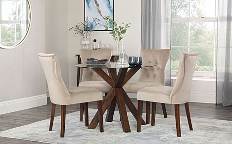 Hatton Round Dark Wood and Glass Dining Table with 4 Bewley Mink Velvet Chairs