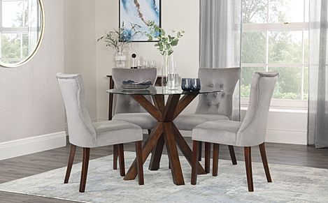 Hatton Round Walnut and Glass Dining Table with 4 Bewley Grey Velvet Chairs
