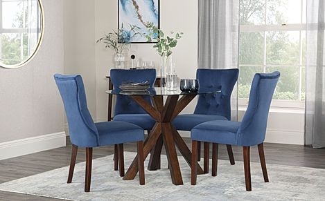 Hatton Round Dark Wood and Glass Dining Table with 4 Bewley Blue Velvet Chairs