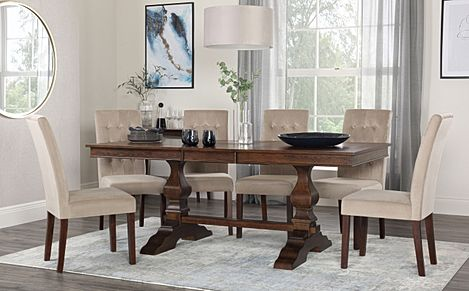 Cavendish Dark Wood Extending Dining Table with 8 Regent Mink Velvet Chairs