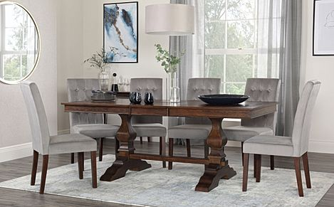 Cavendish Walnut Extending Dining Table with 4 Regent Grey Velvet Chairs