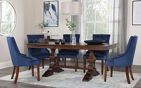 Cavendish Walnut Extending Dining Table with 4 Duke Blue Velvet Chairs