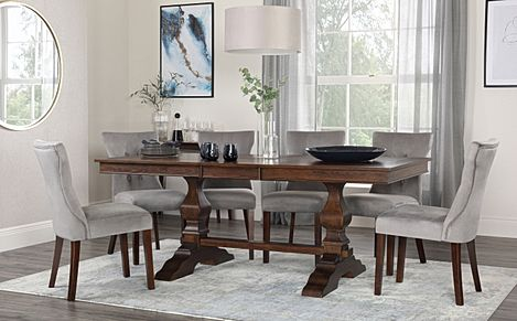 Cavendish Dark Wood Extending Dining Table with 8 Bewley Grey Velvet Chairs