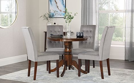 Kingston Round Walnut Dining Table with 4 Regent Grey Velvet Chairs