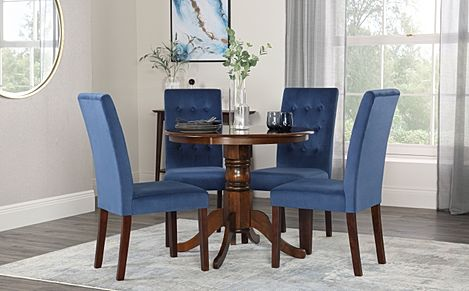 Kingston Round Walnut Dining Table with 4 Regent Blue Velvet Chairs