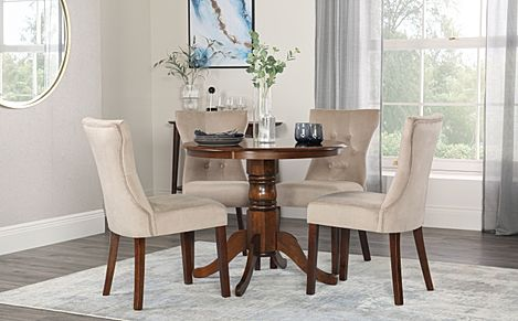 Kingston Round Dark Wood Dining Table with 4 Bewley Mink Velvet Chairs