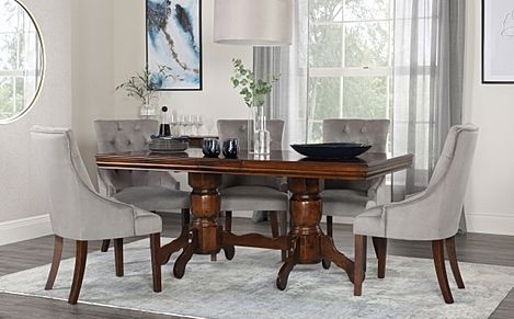 Chatsworth Walnut Extending Dining Table with 6 Duke Grey Velvet Chairs